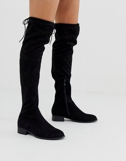 Elle flat over the knee boots in black