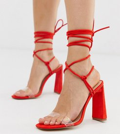 Exclusive Demi ankle tie heeled sandals-Red