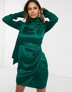 mini dress with wrap front skirt and tie neck in animal satin-Green