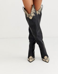 Rodeo over the knee western boots in black