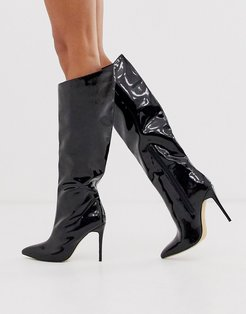 Thriller knee high boots in black patent