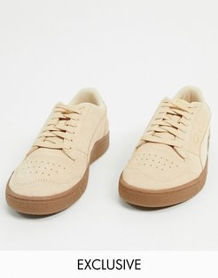 Ralph Sampson suede gum sole sneakers in tan exclusive to ASOS-Cream