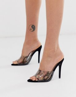 clear strap heeled mules-Black