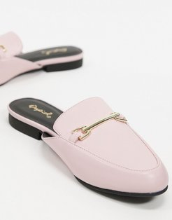 flat trim loafer mules in pink