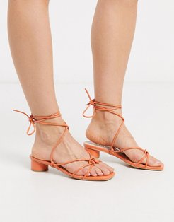 Isobel heeled strappy sandals in coral-Orange