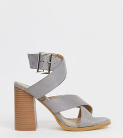 Abree gray stacked heel sandals