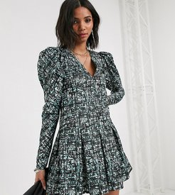 inspired dress with puff sleeve in abstract check print-Multi