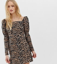 inspired mini dress with shoulder puff in tiger Print-Brown