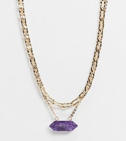 inspired multirow chain necklace with purple stone in gold