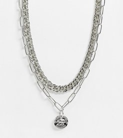 inspired multirow necklace with medallion coin in silver