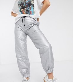 inspired quilted jogger in silver-Multi