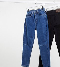 inspired The 91' mom jean with knee rip in dark stone wash-Blue