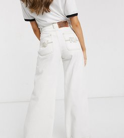 inspired wide leg jean with stitch detail-White
