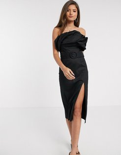 bardot belted midi pencil dress in black