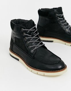 lace up boot with contrast sole in black