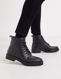 leather lace up boot with chunky sole in black