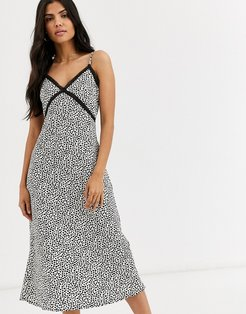 midi slip dress in black print-Pink