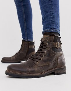 military boots in dark brown
