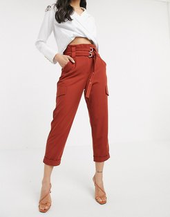 paperbag utility pants in rust-Red