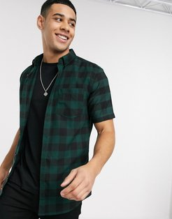 short sleeve checked shirt in green