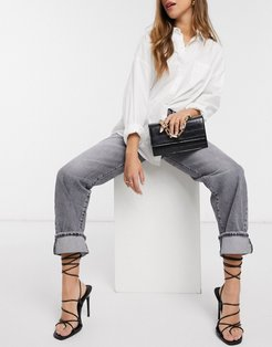 super high rise straight leg jeans in gray-Blue