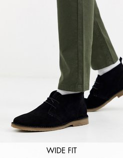 Wide Fit suede desert boots in black