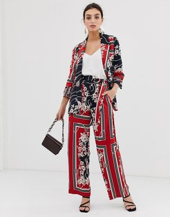 wide leg pants in scarf print-Red