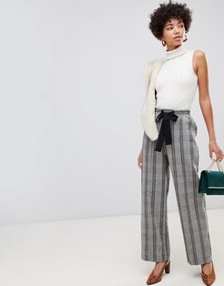 wide leg pants with tie waist in check-Brown