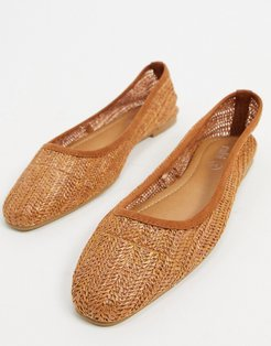 carina square-toe ballet flats in tan