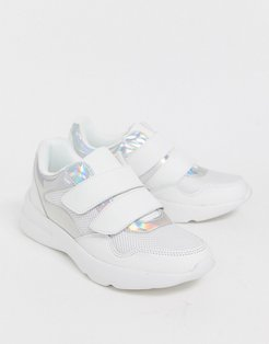 double strap holographic chunky sneakers-White