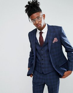 Blue Prince Of Wales Check Skinny Fit Suit Jacket