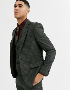 heritage check skinny fit suit jacket-Green