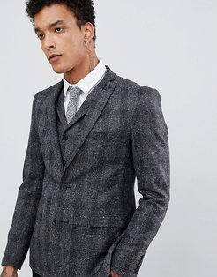 Skinny Nep Check Suit Jacket-Gray