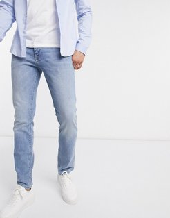 organic cotton slim fit stretch jeans in washed blue