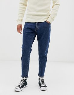 relaxed fit cropped organic cotton jeans in mid blue