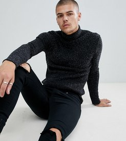 knitted roll neck sweater in black exclusive to ASOS