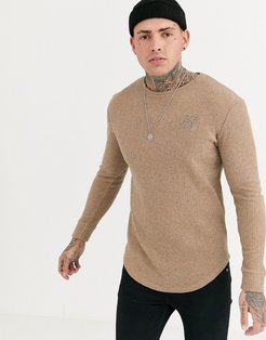 muscle fit knitted crew neck sweater in camel-Stone