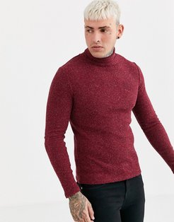 muscle fit knitted roll neck sweater in burgundy-Red