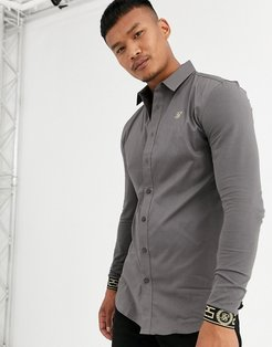 muscle fit long sleeve shirt in gray with cuff embroidery