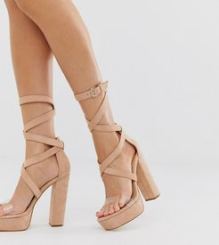 Simmi London Milly exclusive blush platform sandals with clear detail-Pink
