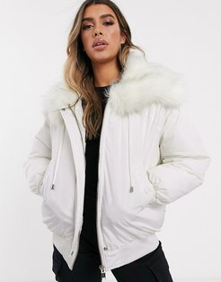 oversized bomber jacket with faux fur hood-White