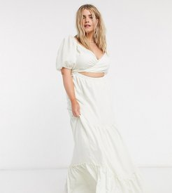 belted maxi dress with tiered skirt and puff sleeves-White