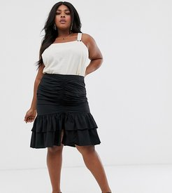 ruched front midi skirt-Black