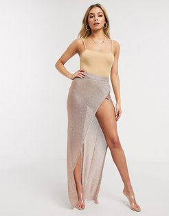 UK knitted shimmer wrap maxi skirt with high thigh split in rose gold-Pink