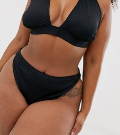 Exclusive mix and match ribbed high waist bikini bottom in black
