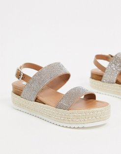 Catia flat sandals in rhinestone-Multi