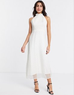 midsummer midi dress in white-Cream