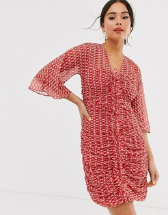 sunny afternoon ruched mini dress-Red