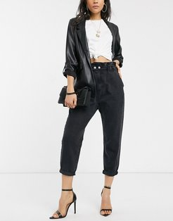 baggy jeans with elasticated waist in black