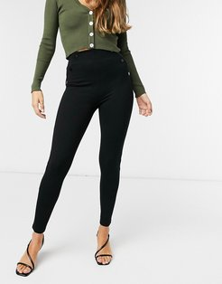 leggings with faux leather side seam detail in black